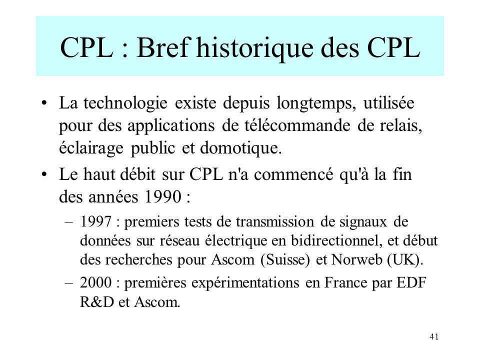 41 CPL : Bref historique des CPL La technologie existe depuis longtemps, utilisée pour des applications de télécommande de relais, éclairage public et