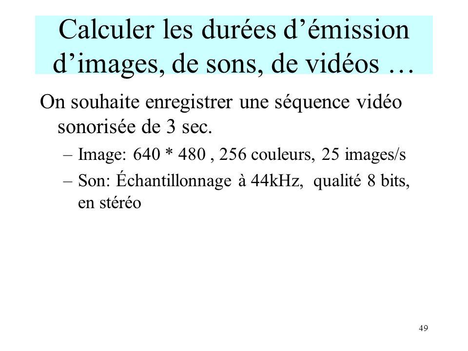 49 Calculer les durées démission dimages, de sons, de vidéos … On souhaite enregistrer une séquence vidéo sonorisée de 3 sec. –Image: 640 * 480, 256 c