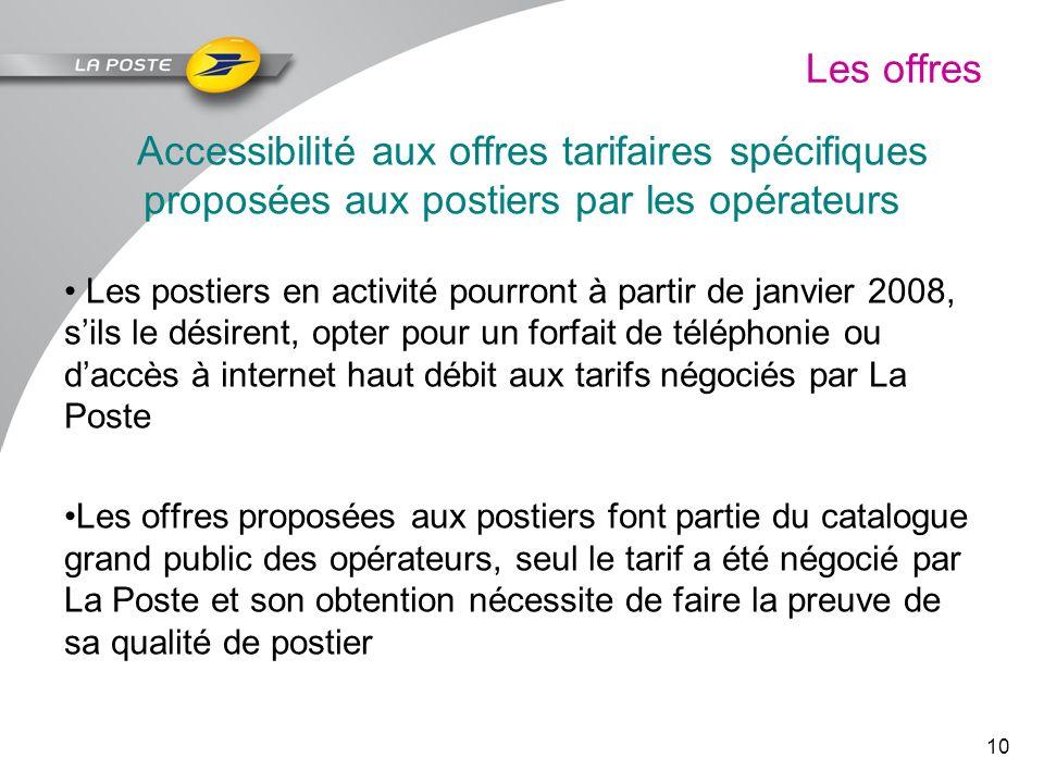 10 Les offres Accessibilité aux offres tarifaires spécifiques proposées aux postiers par les opérateurs Les postiers en activité pourront à partir de
