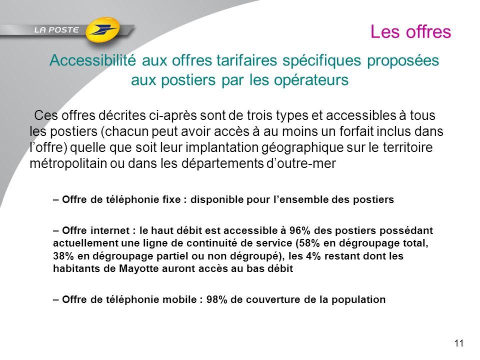11 Les offres Accessibilité aux offres tarifaires spécifiques proposées aux postiers par les opérateurs Ces offres décrites ci-après sont de trois typ