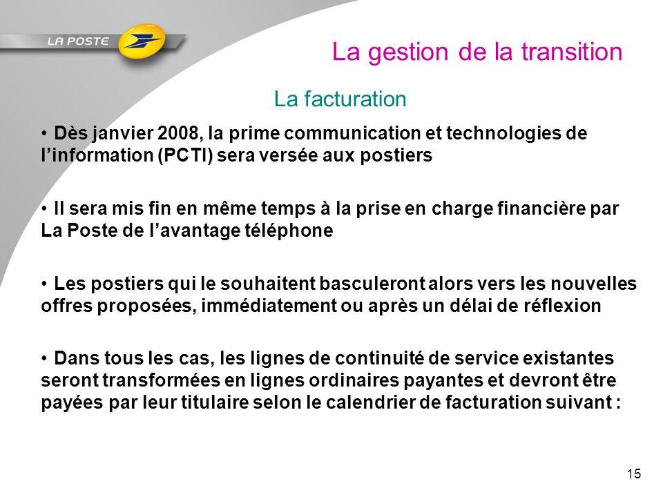 15 La gestion de la transition La facturation Dès janvier 2008, la prime communication et technologies de linformation (PCTI) sera versée aux postiers