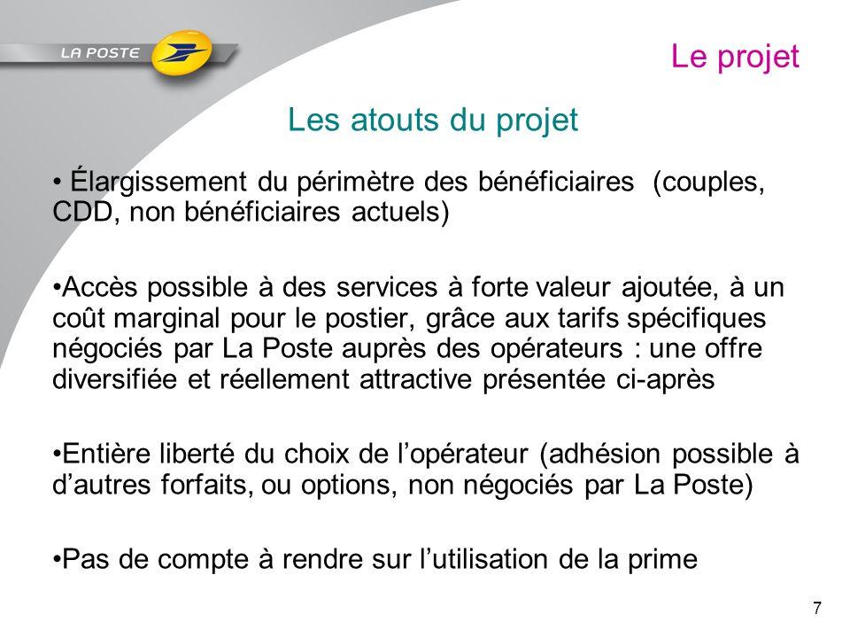 7 Le projet Les atouts du projet Élargissement du périmètre des bénéficiaires (couples, CDD, non bénéficiaires actuels) Accès possible à des services