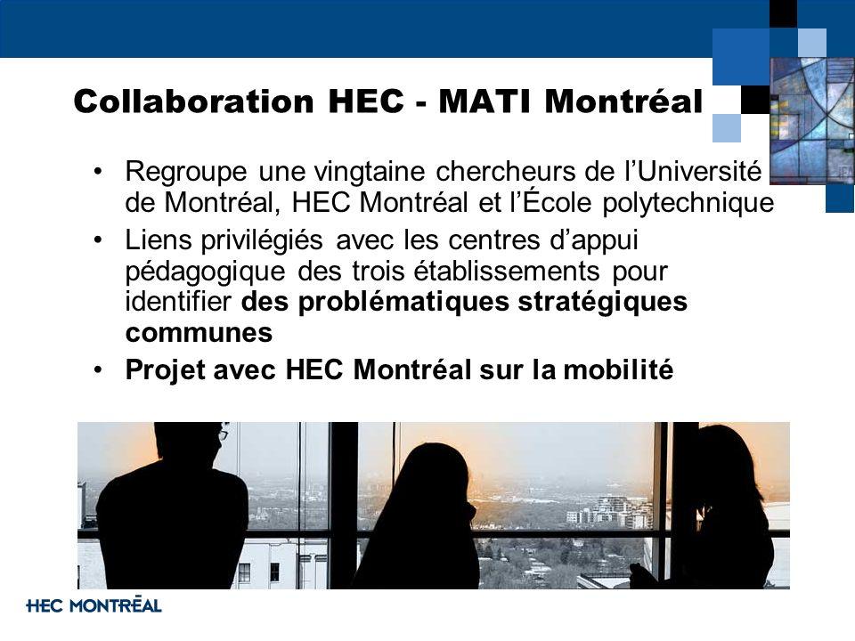 Collaboration HEC - MATI Montréal Regroupe une vingtaine chercheurs de lUniversité de Montréal, HEC Montréal et lÉcole polytechnique Liens privilégiés