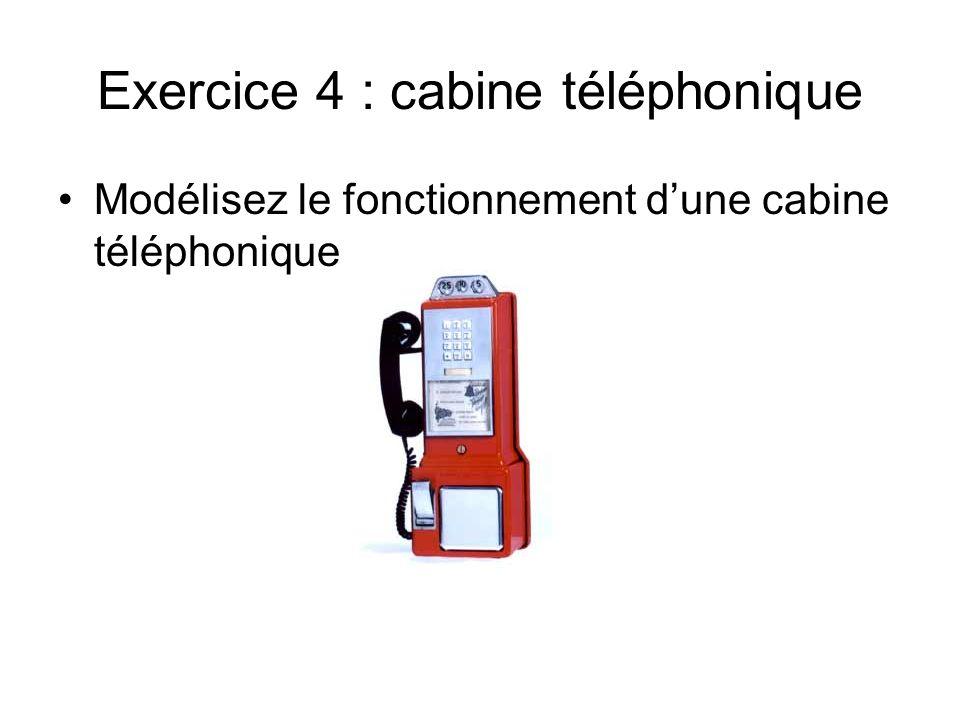 Exercice 4 : cabine téléphonique Modélisez le fonctionnement dune cabine téléphonique