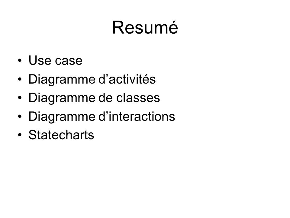 Resumé Use case Diagramme dactivités Diagramme de classes Diagramme dinteractions Statecharts