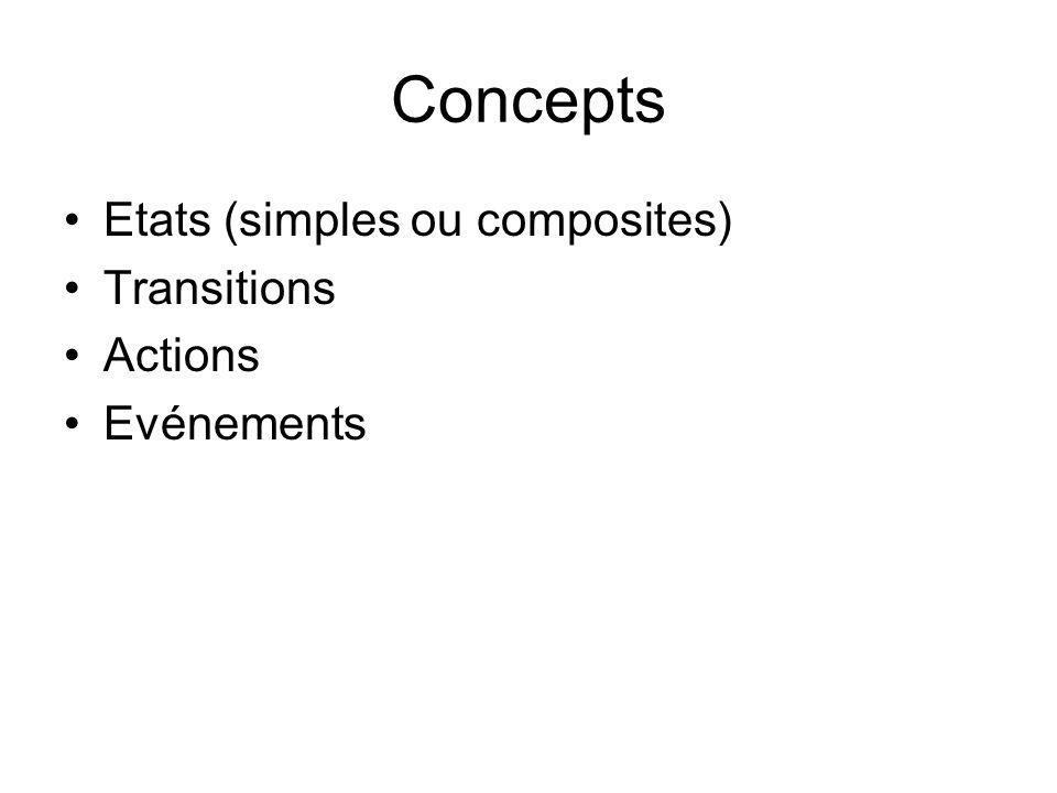 Concepts Etats (simples ou composites) Transitions Actions Evénements