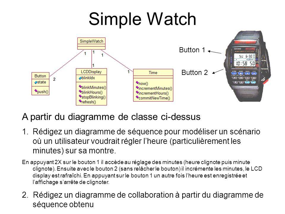 Simple Watch A partir du diagramme de classe ci-dessus 1.Rédigez un diagramme de séquence pour modéliser un scénario où un utilisateur voudrait régler lheure (particulièrement les minutes) sur sa montre.