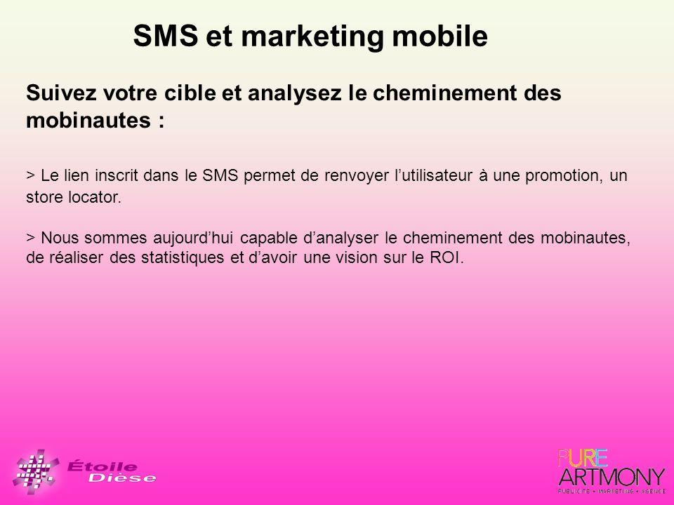 SMS et marketing mobile Suivez votre cible et analysez le cheminement des mobinautes : > Le lien inscrit dans le SMS permet de renvoyer lutilisateur à