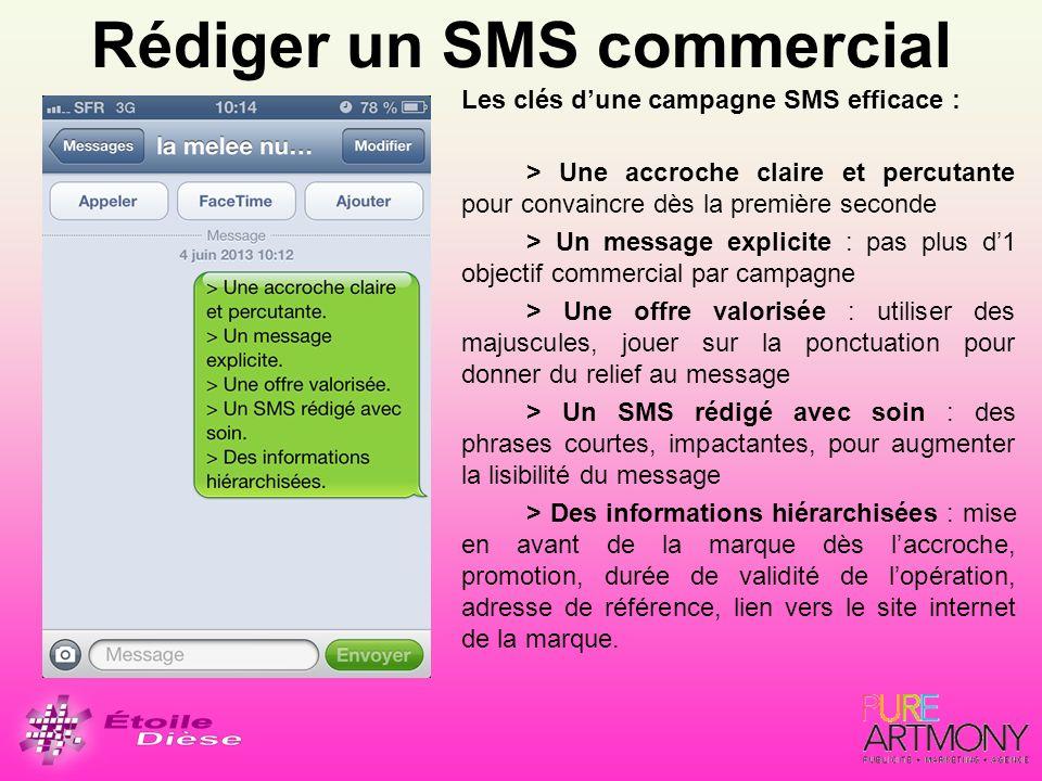 Rédiger un SMS commercial Les clés dune campagne SMS efficace : > Une accroche claire et percutante pour convaincre dès la première seconde > Un messa