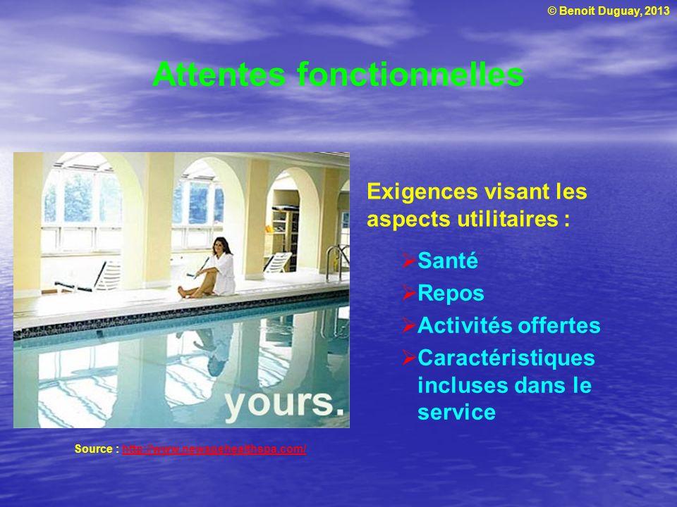 © Benoit Duguay, 2013 Exigences visant les aspects utilitaires : Attentes fonctionnelles Santé Repos Activités offertes Caractéristiques incluses dans