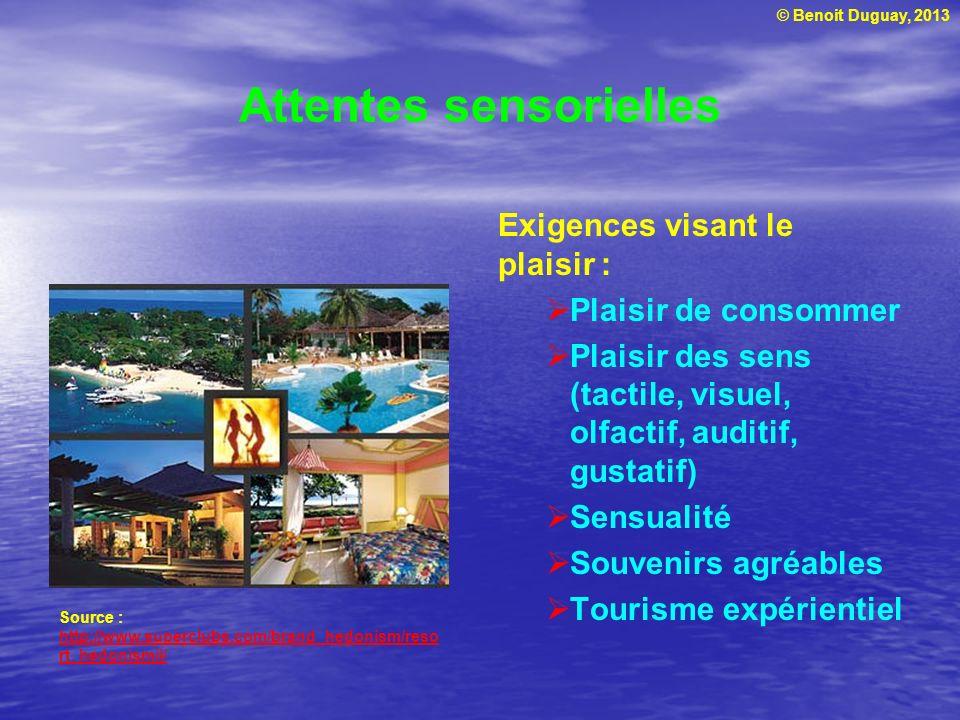 © Benoit Duguay, 2013 Attentes sensorielles Exigences visant le plaisir : Plaisir de consommer Plaisir des sens (tactile, visuel, olfactif, auditif, g