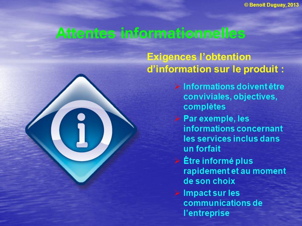 © Benoit Duguay, 2013 Attentes informationnelles Exigences lobtention dinformation sur le produit : Informations doivent être conviviales, objectives,