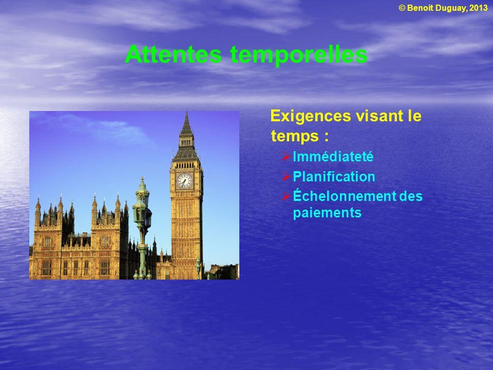 © Benoit Duguay, 2013 Attentes temporelles Exigences visant le temps : Immédiateté Planification Échelonnement des paiements