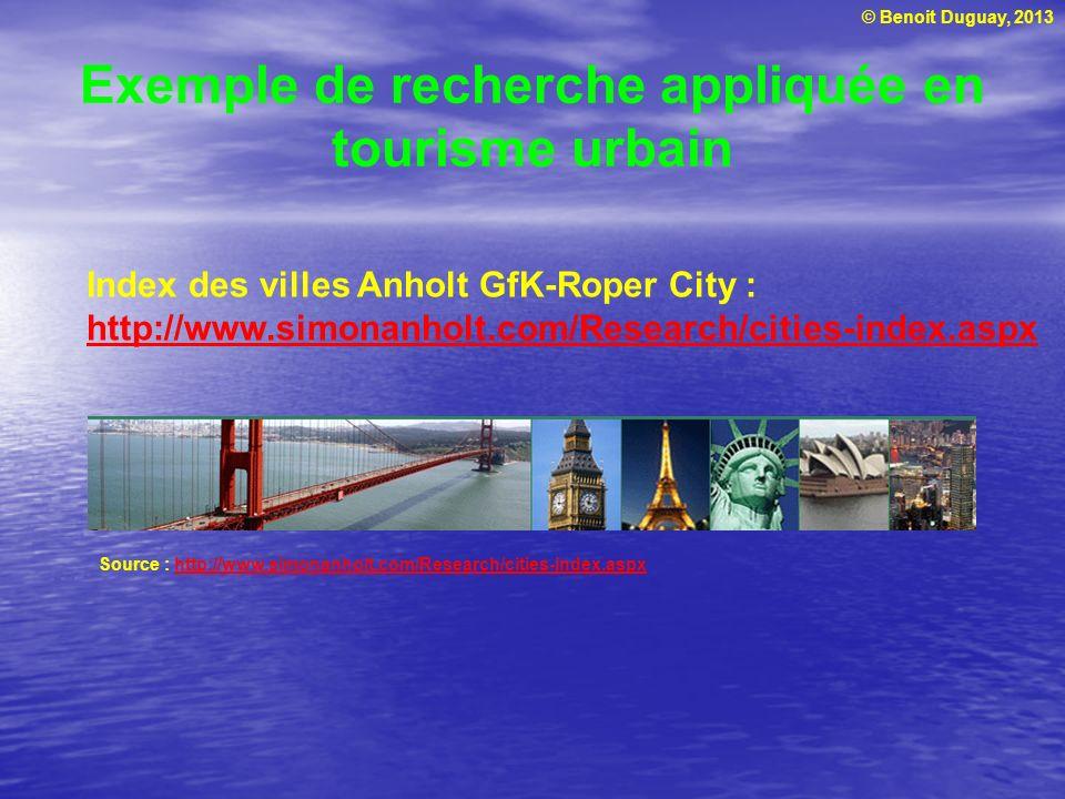 © Benoit Duguay, 2013 Exemple de recherche appliquée en tourisme urbain Source : http://www.simonanholt.com/Research/cities-index.aspxhttp://www.simon