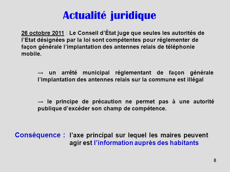 88 26 octobre 2011 : Le Conseil dÉtat juge que seules les autorités de lEtat désignées par la loi sont compétentes pour réglementer de façon générale