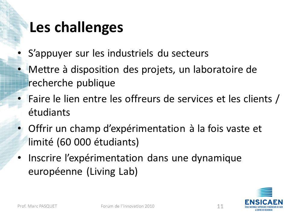 Les challenges Sappuyer sur les industriels du secteurs Mettre à disposition des projets, un laboratoire de recherche publique Faire le lien entre les