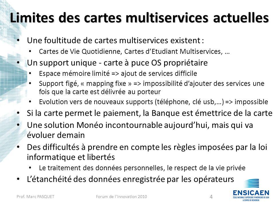 Limites des cartes multiservices actuelles Une foultitude de cartes multiservices existent : Cartes de Vie Quotidienne, Cartes dEtudiant Multiservices