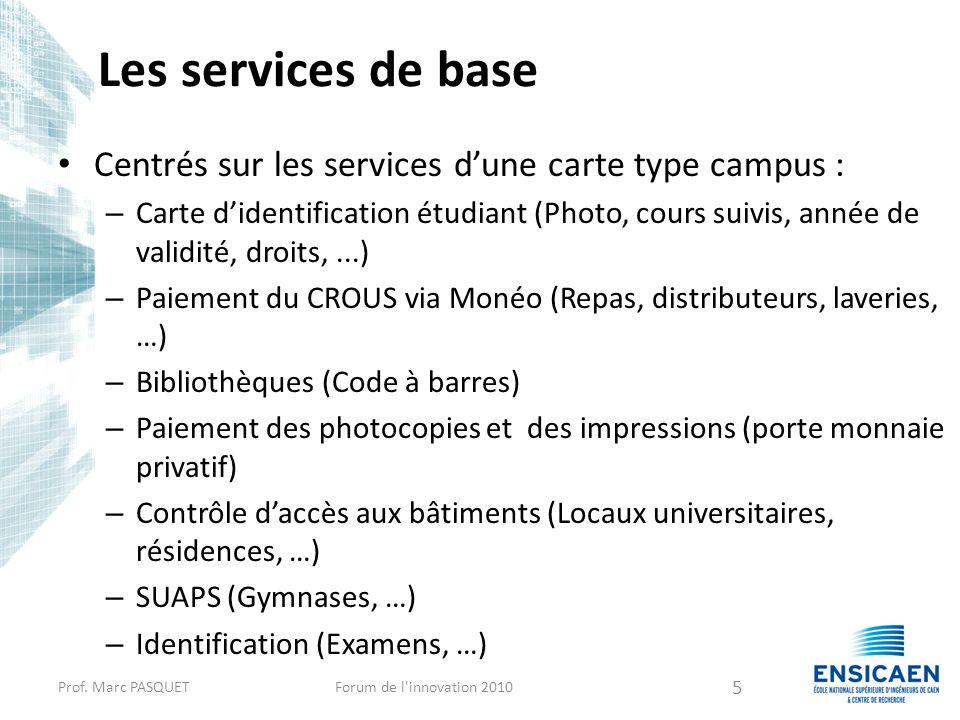 Les services de base Centrés sur les services dune carte type campus : – Carte didentification étudiant (Photo, cours suivis, année de validité, droit