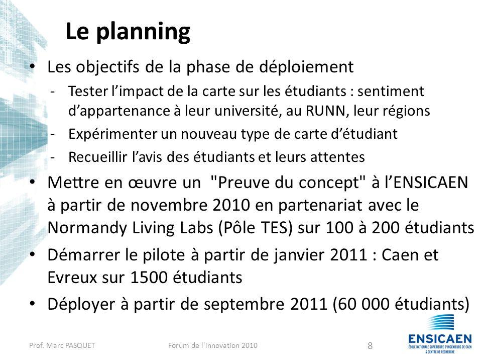 Le planning Les objectifs de la phase de déploiement -Tester limpact de la carte sur les étudiants : sentiment dappartenance à leur université, au RUN