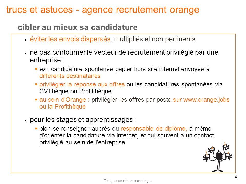 7 étapes pour trouver un stage 5 trucs et astuces - agence recrutement orange stage : les offres de stage ouvertes pour des périodes de 4 mois minimum sont disponibles régulièrement sur orange.com : www.orange.jobswww.orange.jobs alternance : les offres dalternance sont envoyées à nos CFA partenaires.