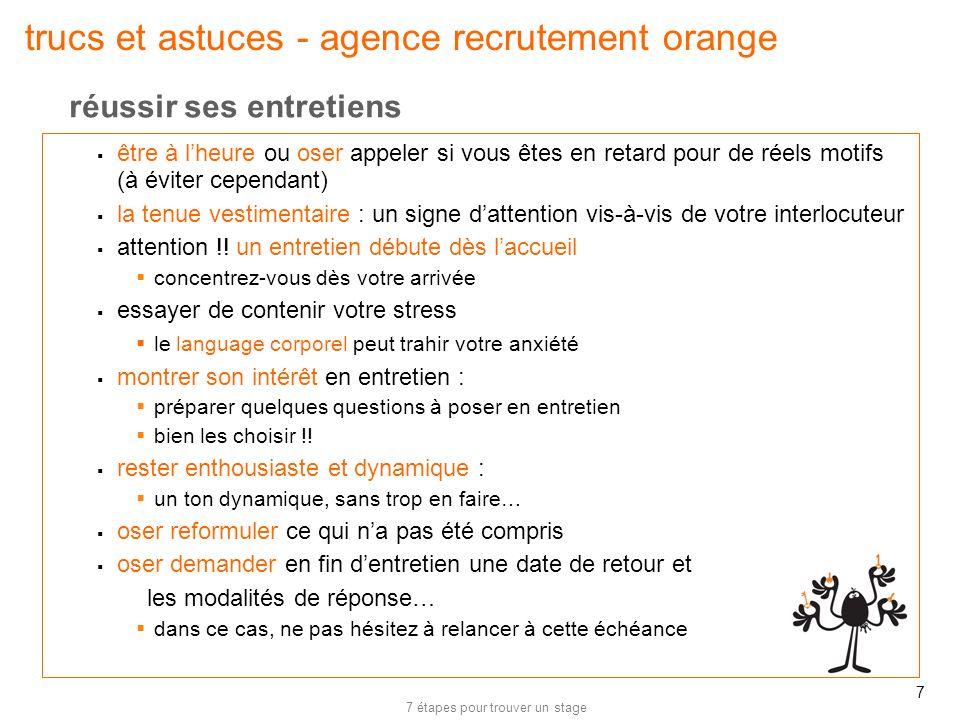 7 étapes pour trouver un stage 7 trucs et astuces - agence recrutement orange être à lheure ou oser appeler si vous êtes en retard pour de réels motif