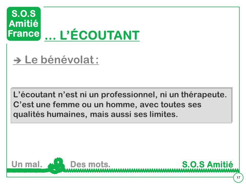 17 … LÉCOUTANT Le bénévolat : Lécoutant nest ni un professionnel, ni un thérapeute.