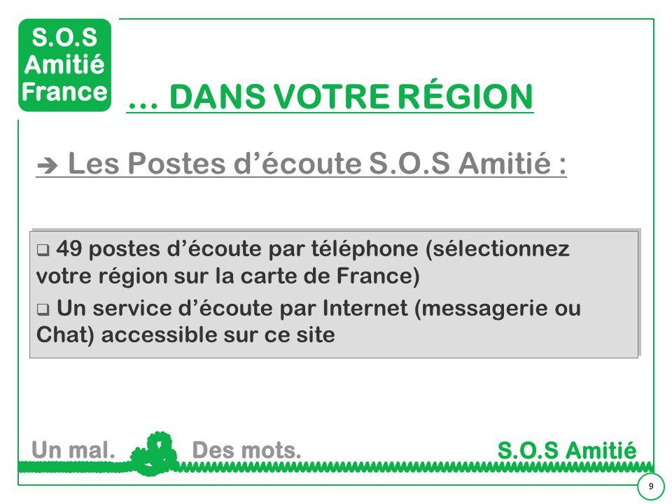 9 Les Postes découte S.O.S Amitié : 49 postes découte par téléphone (sélectionnez votre région sur la carte de France) Un service découte par Internet (messagerie ou Chat) accessible sur ce site 49 postes découte par téléphone (sélectionnez votre région sur la carte de France) Un service découte par Internet (messagerie ou Chat) accessible sur ce site … DANS VOTRE RÉGION