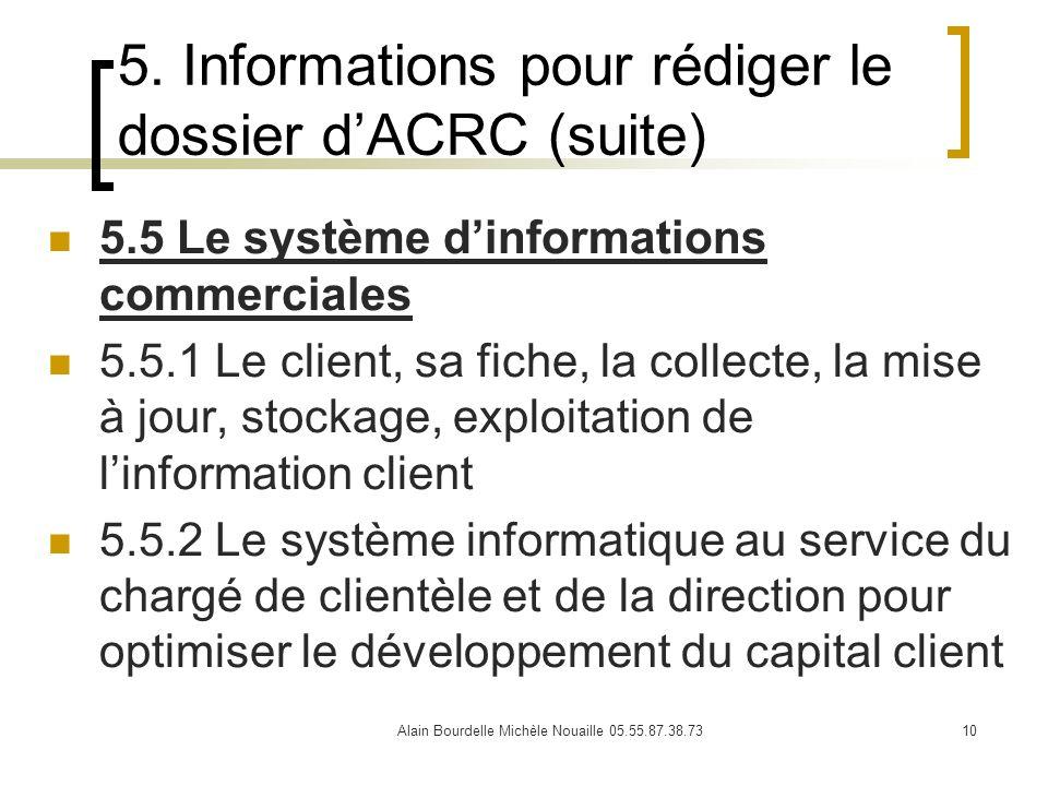 Alain Bourdelle Michèle Nouaille 05.55.87.38.7310 5. Informations pour rédiger le dossier dACRC (suite) 5.5 Le système dinformations commerciales 5.5.