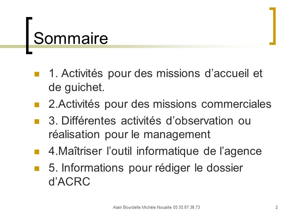 Alain Bourdelle Michèle Nouaille 05.55.87.38.732 Sommaire 1. Activités pour des missions daccueil et de guichet. 2.Activités pour des missions commerc
