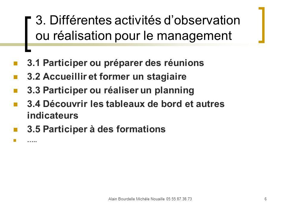 Alain Bourdelle Michèle Nouaille 05.55.87.38.736 3. Différentes activités dobservation ou réalisation pour le management 3.1 Participer ou préparer de