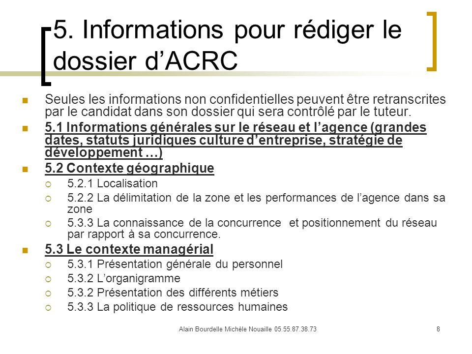 Alain Bourdelle Michèle Nouaille 05.55.87.38.738 5. Informations pour rédiger le dossier dACRC Seules les informations non confidentielles peuvent êtr