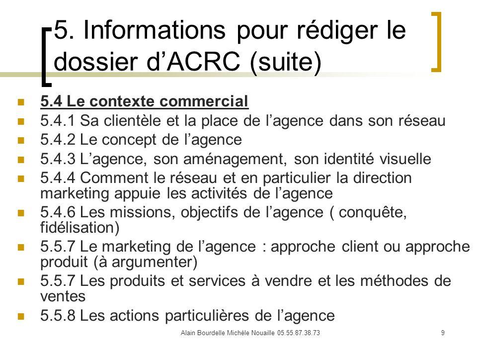 Alain Bourdelle Michèle Nouaille 05.55.87.38.739 5. Informations pour rédiger le dossier dACRC (suite) 5.4 Le contexte commercial 5.4.1 Sa clientèle e