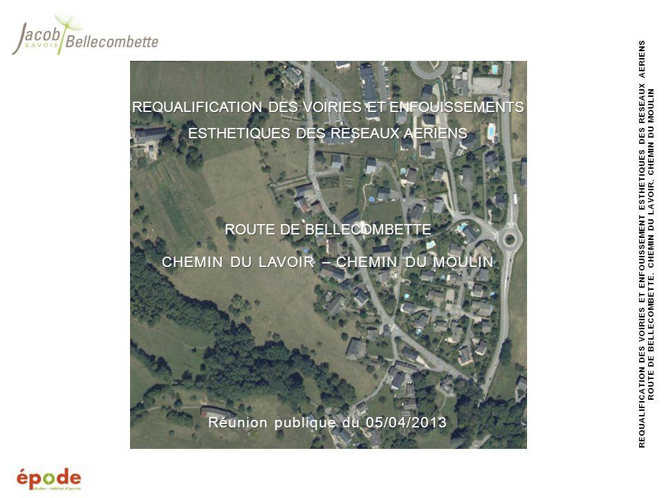 12 REQUALIFICATION DES VOIRIES ET ENFOUISSEMENT ESTHETIQUES DES RESEAUX AERIENS ROUTE DE BELLECOMBETTE, CHEMIN DU LAVOIR, CHEMIN DU MOULIN PLANNING DES TRAVAUX Travaux Chambéry Métropole Intervention pour la reprise du réseau deau potable davril à juillet 2013 Travaux Commune Travaux de réseaux (eaux pluviales, EDF, téléphone et éclairage public) de juin à septembre 2013 Travaux de voirie (trottoir et revêtements de surface) doctobre à novembre 2013