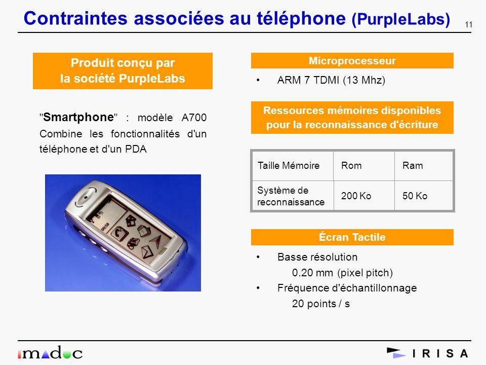 11 Contraintes associées au téléphone (PurpleLabs) Produit conçu par la société PurpleLabs
