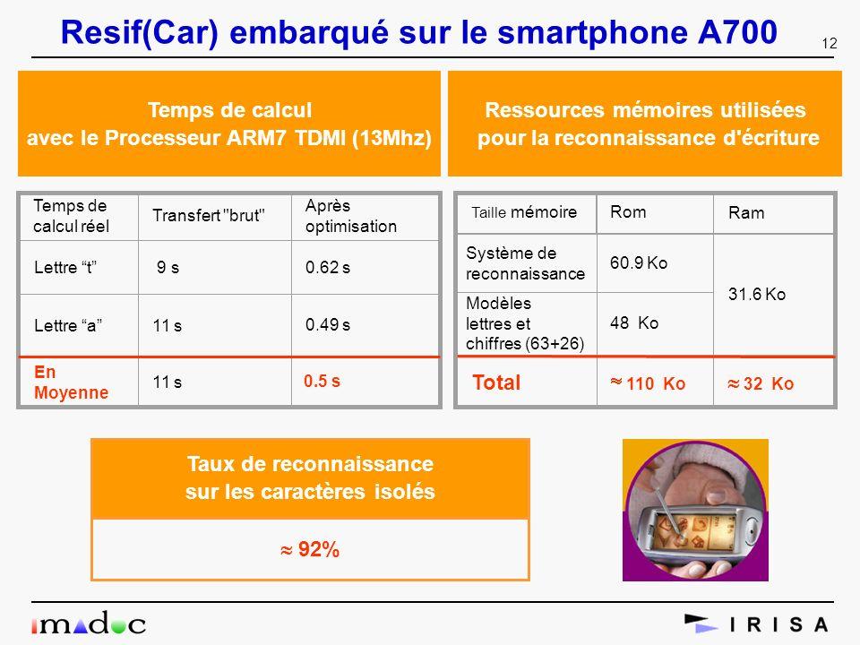 12 Resif(Car) embarqué sur le smartphone A700 0.5 s Temps de calcul avec le Processeur ARM7 TDMI (13Mhz) Transfert