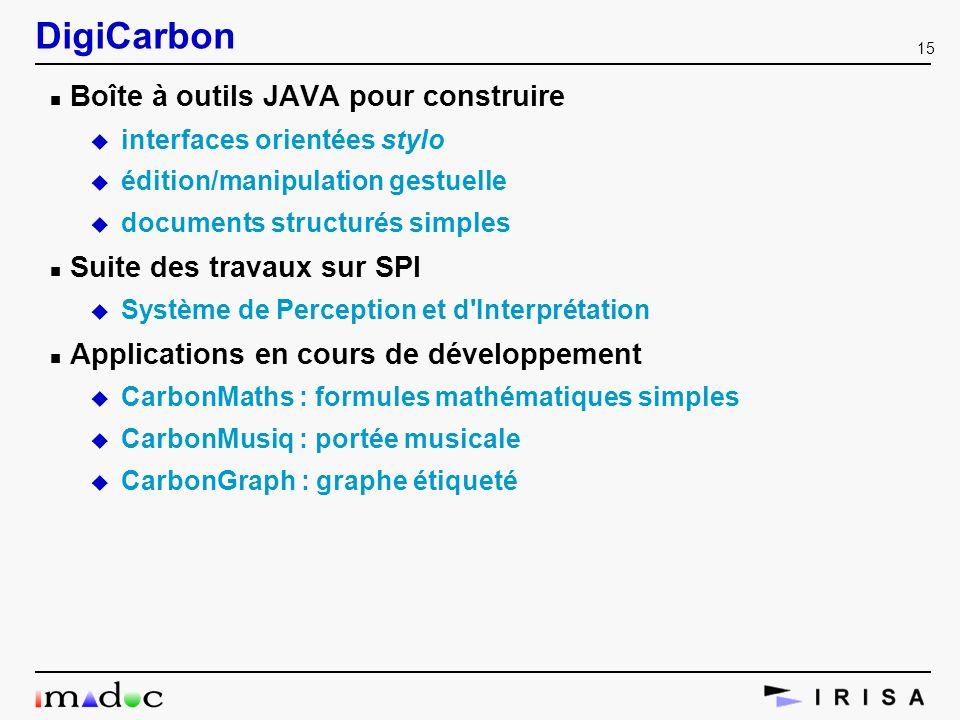15 DigiCarbon n Boîte à outils JAVA pour construire u interfaces orientées stylo u édition/manipulation gestuelle u documents structurés simples n Sui