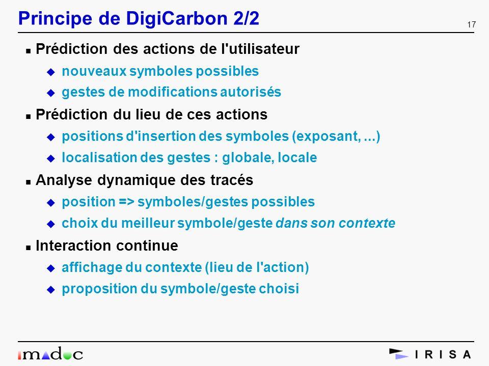 17 Principe de DigiCarbon 2/2 n Prédiction des actions de l'utilisateur u nouveaux symboles possibles u gestes de modifications autorisés n Prédiction