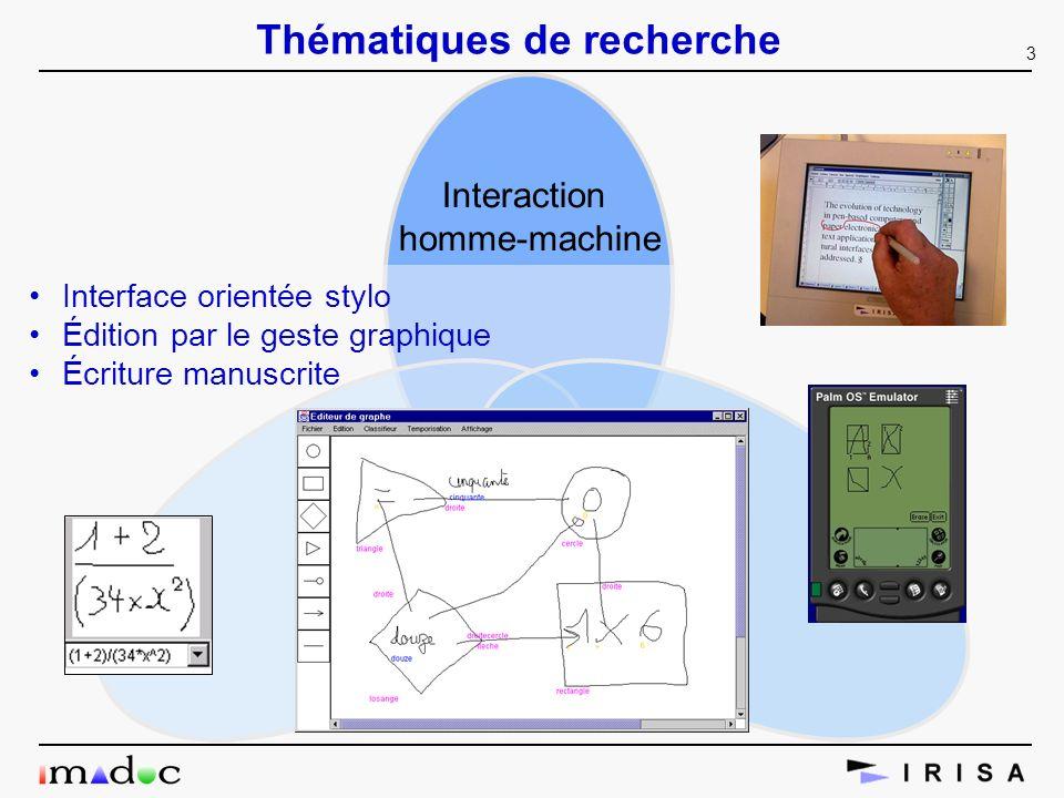 3 Thématiques de recherche Interaction homme-machine Interface orientée stylo Édition par le geste graphique Écriture manuscrite