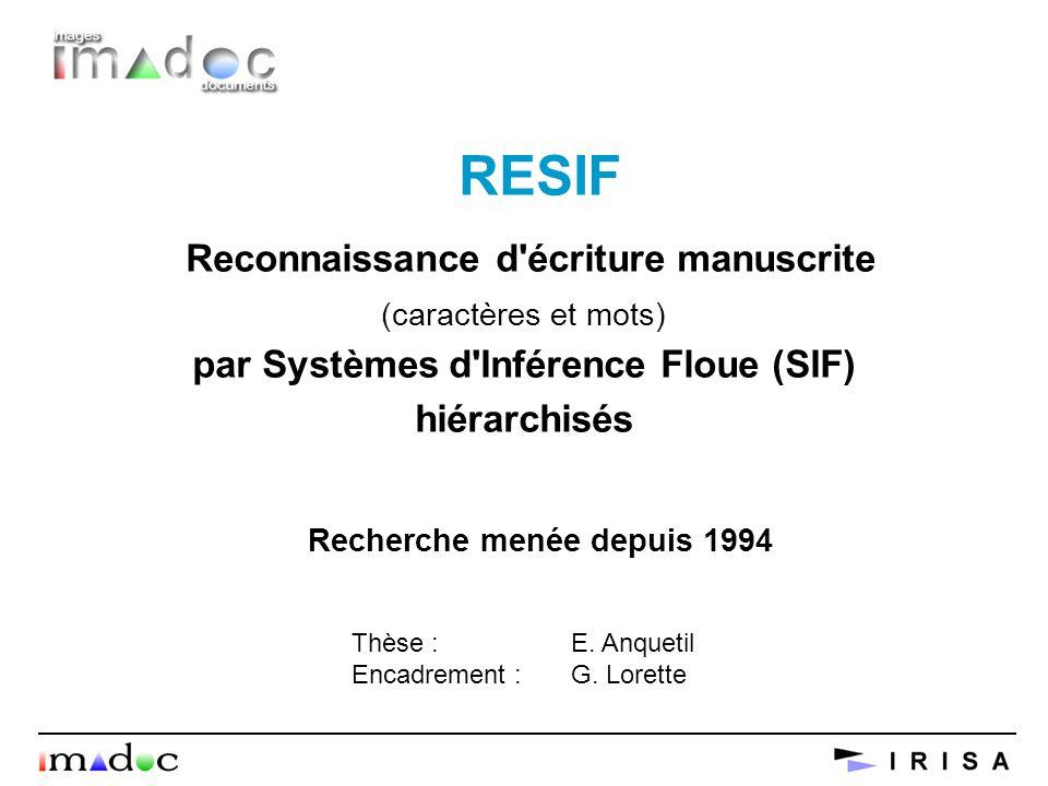 RESIF Reconnaissance d'écriture manuscrite (caractères et mots) par Systèmes d'Inférence Floue (SIF) hiérarchisés Recherche menée depuis 1994 Thèse :