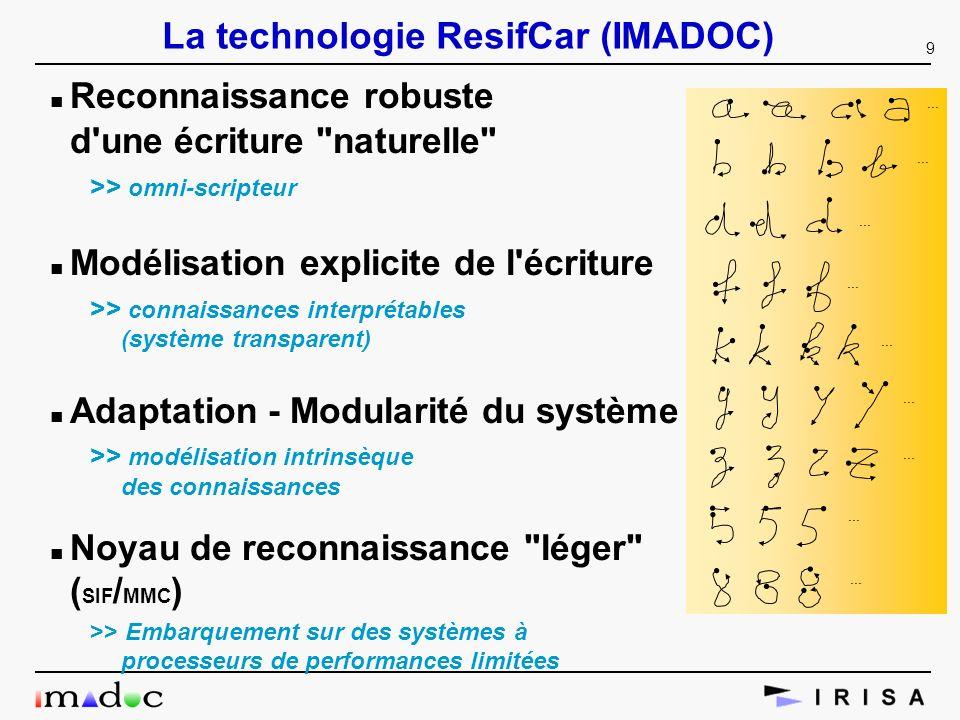 9 La technologie ResifCar (IMADOC) n Reconnaissance robuste d'une écriture