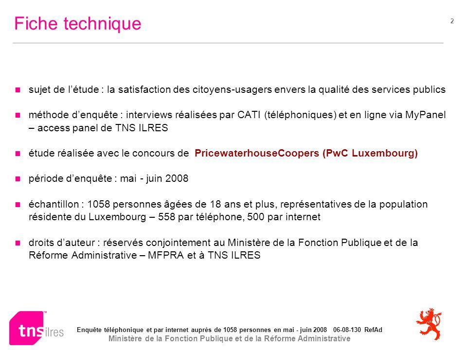 Enquête téléphonique et par internet auprès de 1058 personnes en mai - juin 2008 06-08-130 RefAd Ministère de la Fonction Publique et de la Réforme Administrative 33 Modes de contact: