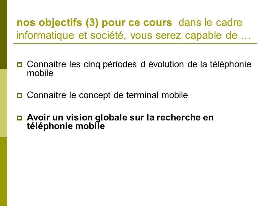 nos objectifs (3) pour ce cours dans le cadre informatique et société, vous serez capable de … Connaitre les cinq périodes d évolution de la téléphoni
