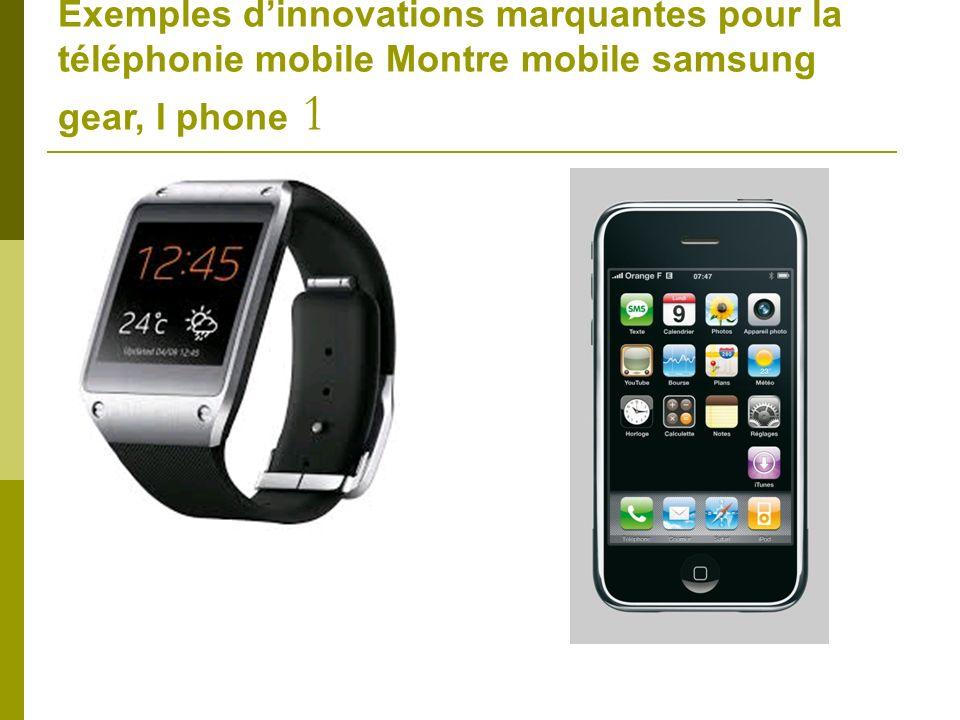 Exemples dinnovations marquantes pour la téléphonie mobile Montre mobile samsung gear, I phone 1