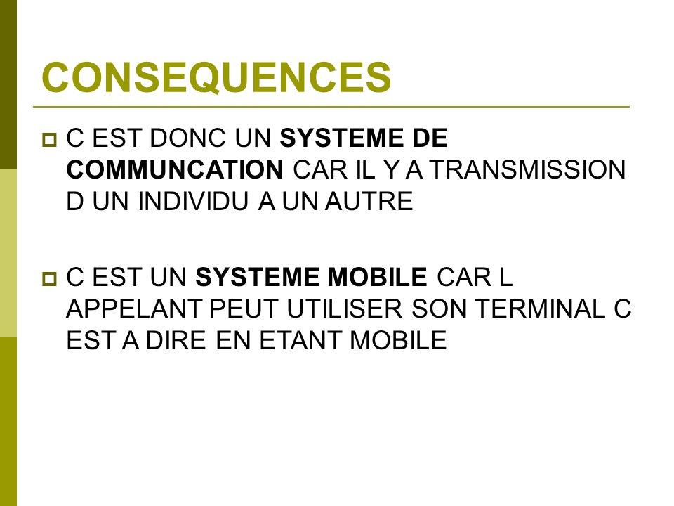 CONSEQUENCES C EST DONC UN SYSTEME DE COMMUNCATION CAR IL Y A TRANSMISSION D UN INDIVIDU A UN AUTRE C EST UN SYSTEME MOBILE CAR L APPELANT PEUT UTILIS