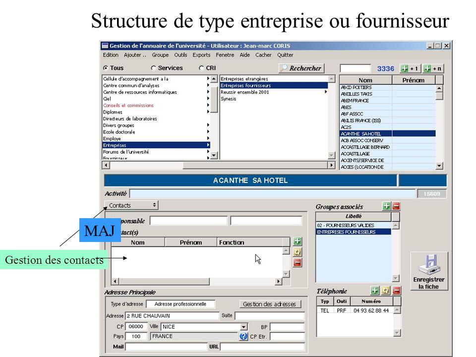 Structure de type entreprise ou fournisseur Gestion des contacts MAJ