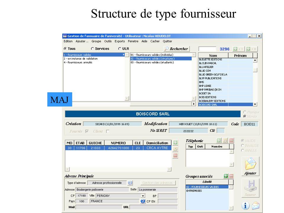 Structure de type fournisseur MAJ