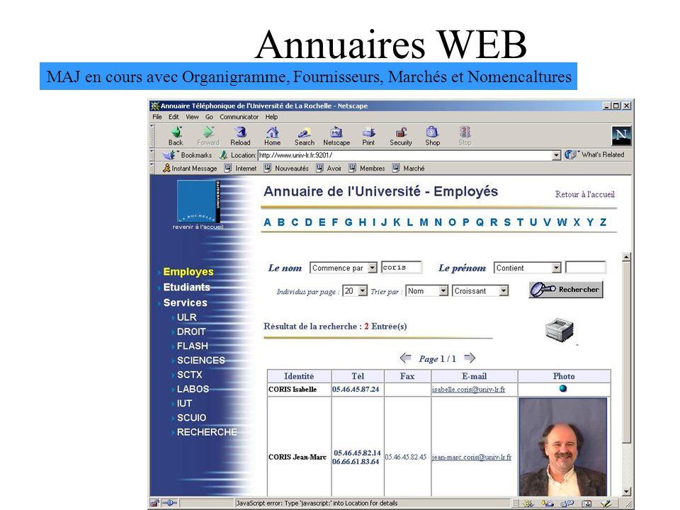 Annuaires WEB MAJ en cours avec Organigramme, Fournisseurs, Marchés et Nomencaltures