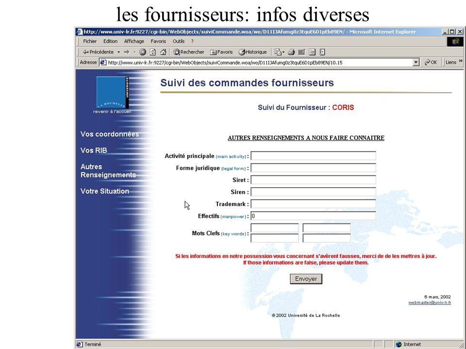 les fournisseurs: infos diverses