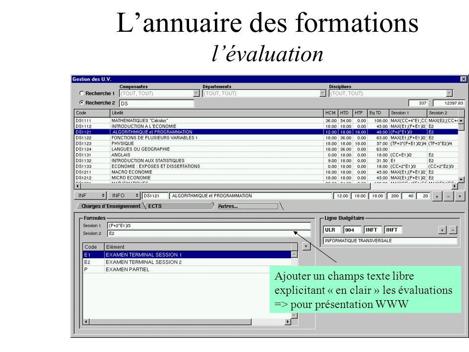 Lannuaire des formations lévaluation Ajouter un champs texte libre explicitant « en clair » les évaluations => pour présentation WWW