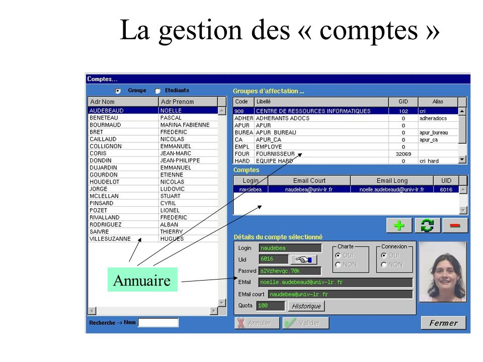 La gestion des « comptes » Annuaire